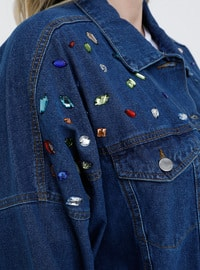 Blue - Navy Blue - Point Collar - Unlined - Cotton - Denim - Plus Size Jacket