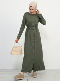 Khaki - Point Collar - Unlined - Viscose - Dresses