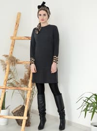 Black - Leopard - Crew neck -  - Tunic