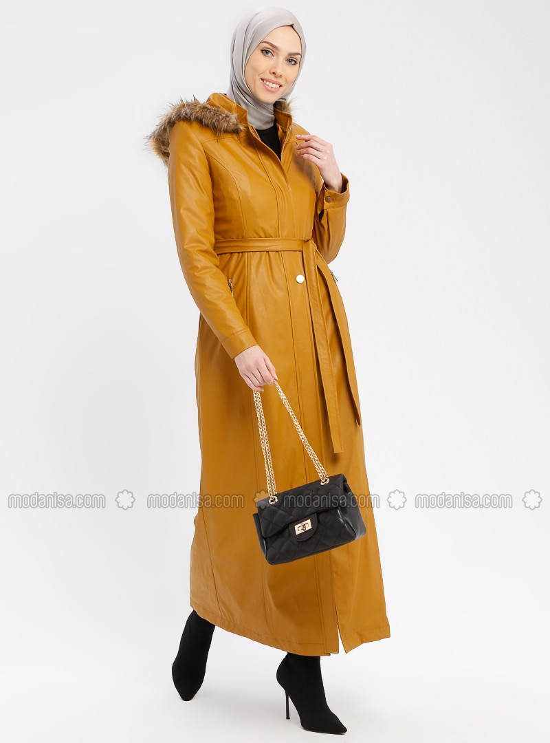 Yellow - Mustard - Fully Lined - Crew neck - Topcoat