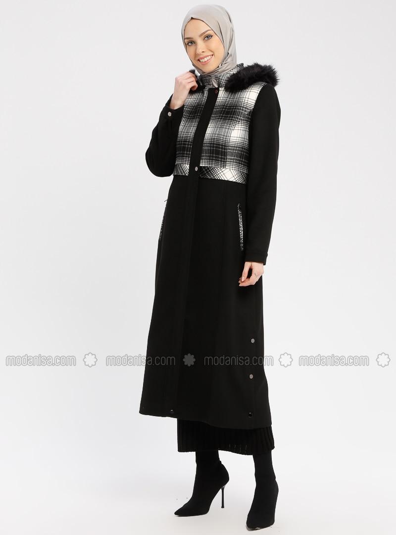 Black - White - Ecru - Plaid - Fully Lined - Crew neck - Coat