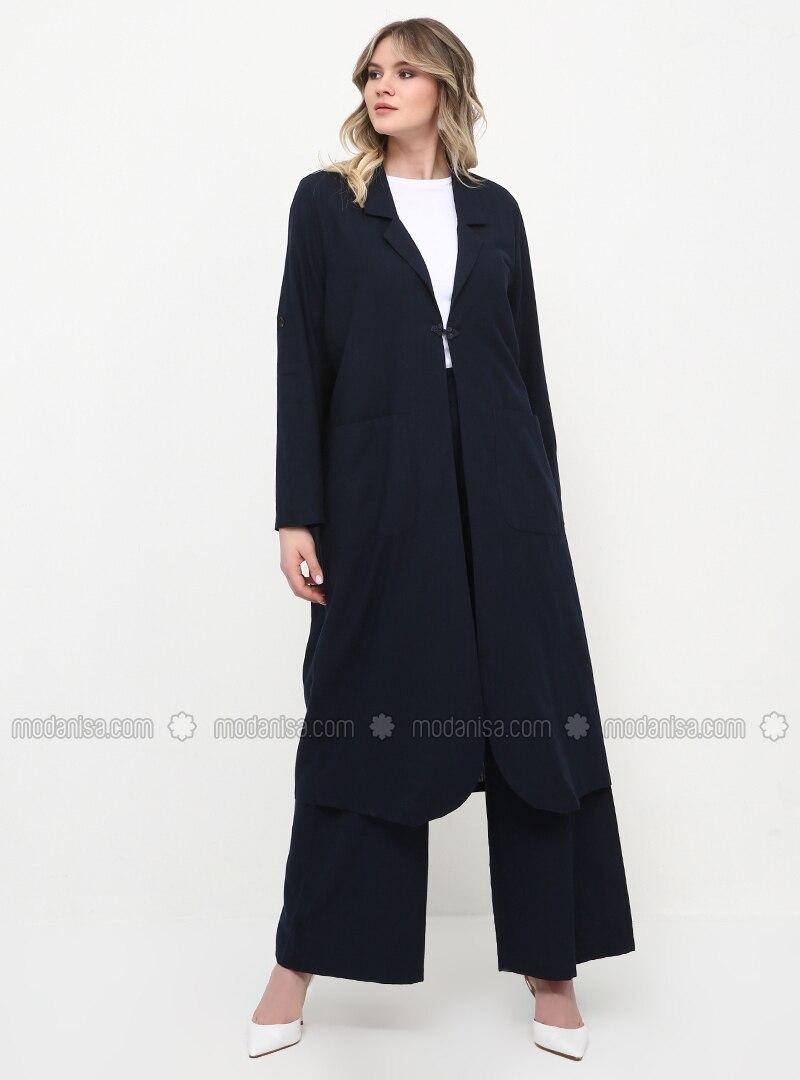 Navy Blue - Unlined - Shawl Collar - Cotton - Plus Size Coat