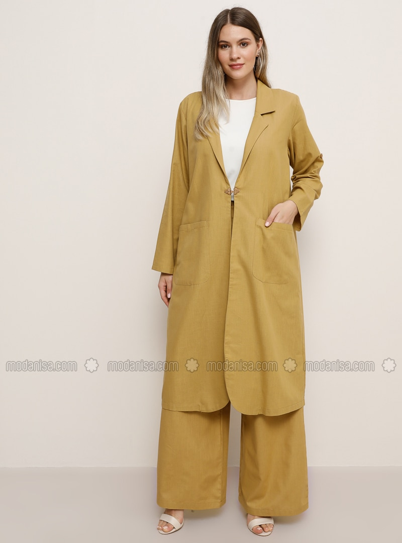 Yellow - Unlined - Shawl Collar - Cotton - Plus Size Coat