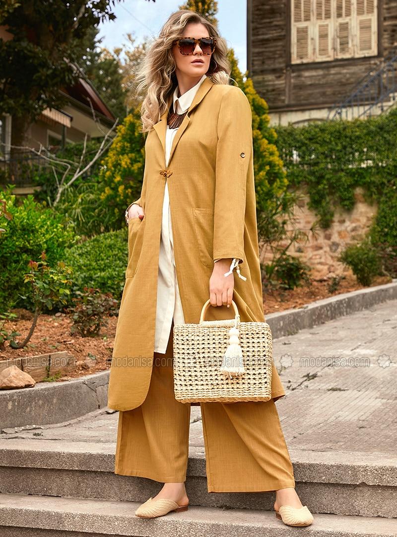 Yellow - Unlined - Shawl Collar - Cotton - Plus Size Coat