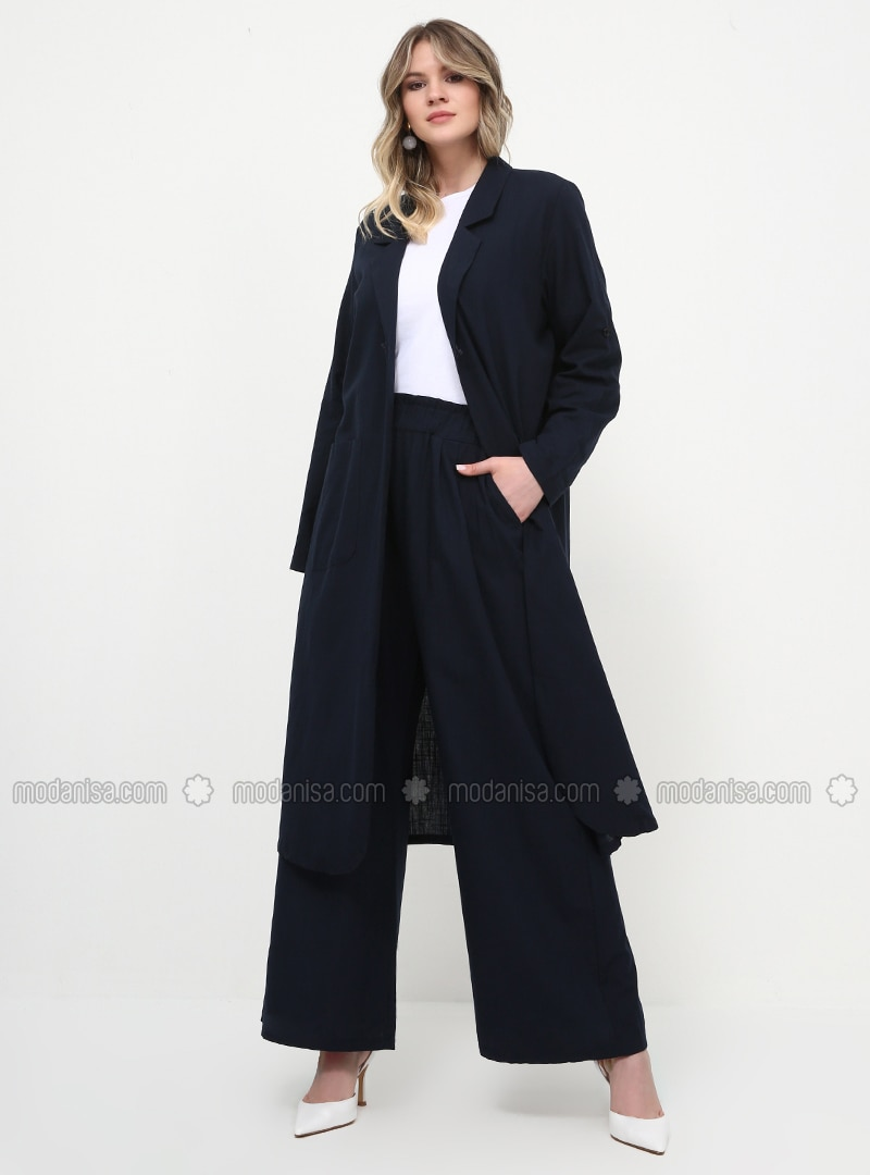 Navy Blue - Cotton - Plus Size Pants