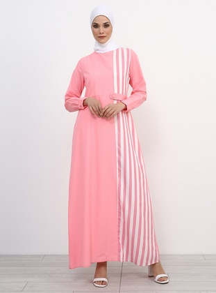Pink - Stripe - Crew neck - Fully Lined - Cotton - Dress