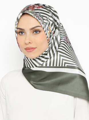 Khaki - Printed - Scarf - Renkli Butik