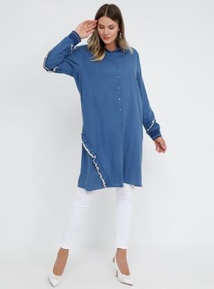 Navy Blue - Indigo - Point Collar - Cotton - Plus Size Tunic
