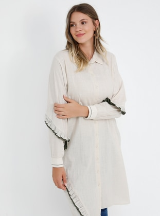 Beige -  - Point Collar - Cotton - Plus Size Tunic