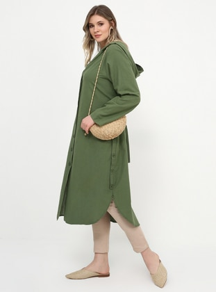 Unlined - Khaki - Cotton - Unlined - Cotton - Plus Size Coat - Alia
