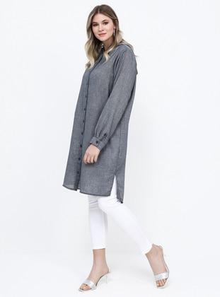 Navy Blue - Cotton - Plus Size Tunic