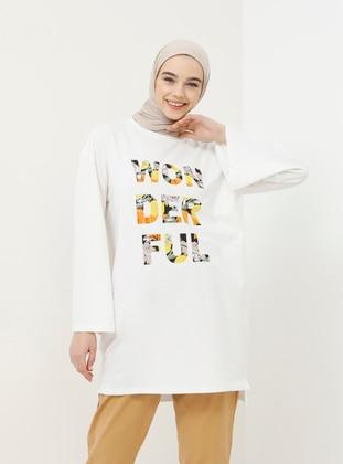 White - Ecru - Multi - Crew neck - Cotton - Tunic