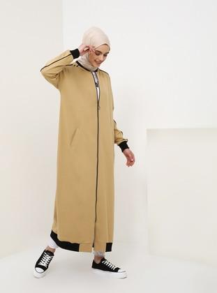 Beige - Unlined - Crew neck - Cotton - Topcoat
