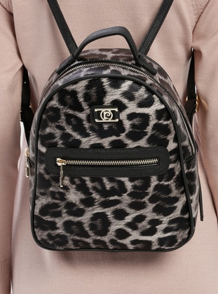 Black - Leopard - Backpack - Bum Bag - Pierre Cardin