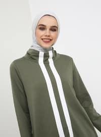 Khaki - Stripe - Polo neck - Tunic