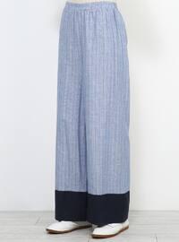 Blue - Navy Blue - Cotton - Pants