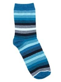 Blue - Navy Blue - Cotton - Socks