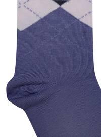 Purple - Lilac - Cotton - Socks