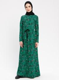 Green - Multi - Crew neck - Unlined - Dresses