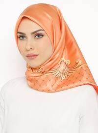 Orange - Printed - Digital Printing - Scarf - Renkli Butik