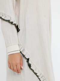 Beige -  - Point Collar - Cotton - Plus Size Tunic
