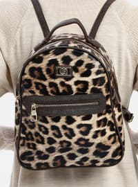 Brown - Leopard - Backpack - Bum Bag - Pierre Cardin