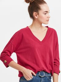 Maroon - V neck Collar - T-Shirt