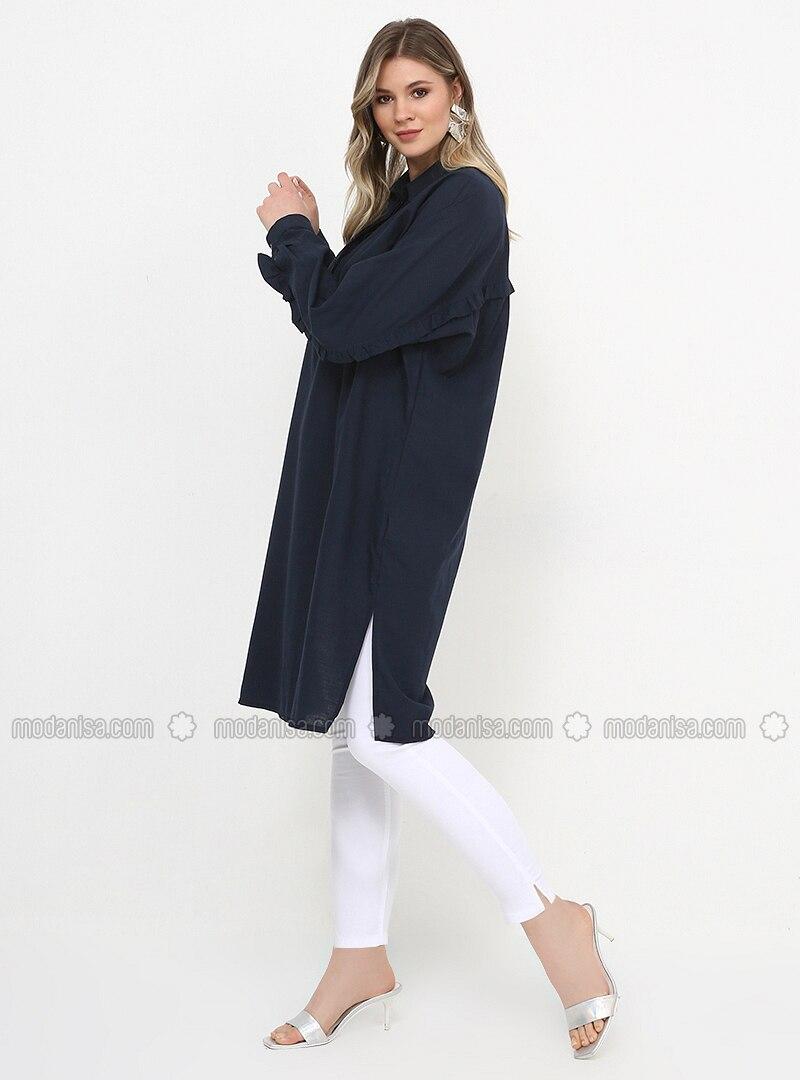 Navy Blue - Point Collar - Cotton - Plus Size Tunic
