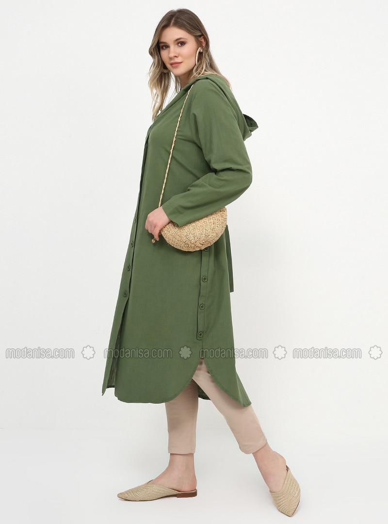Unlined - Khaki - Cotton - Unlined - Cotton - Plus Size Coat