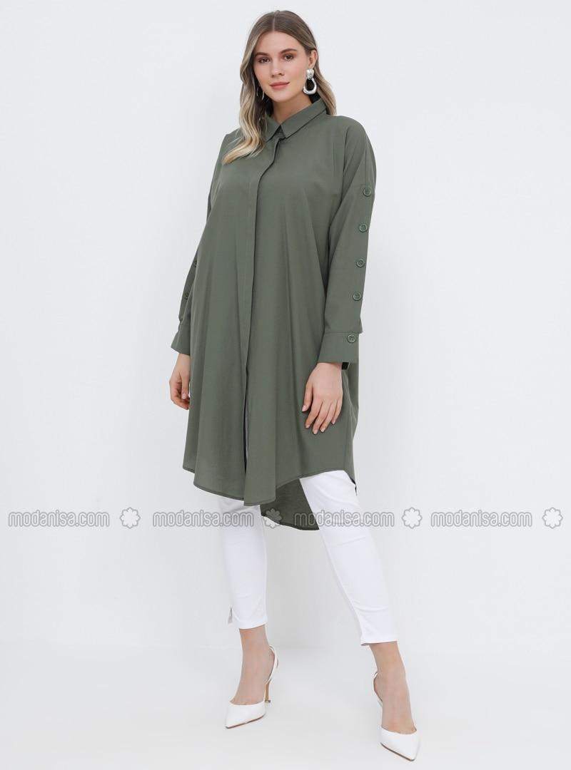 Khaki - Point Collar - Cotton - Plus Size Tunic