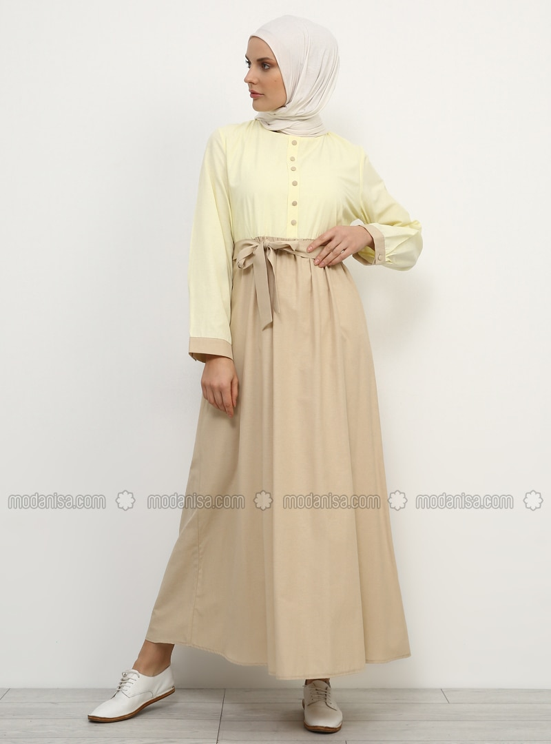 Yellow - Beige - Crew neck - Fully Lined - Cotton - Dress