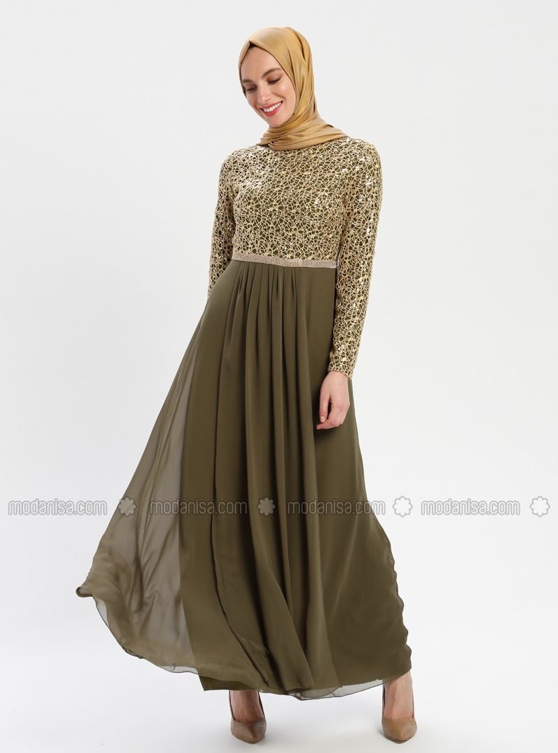Khaki Evening Dress