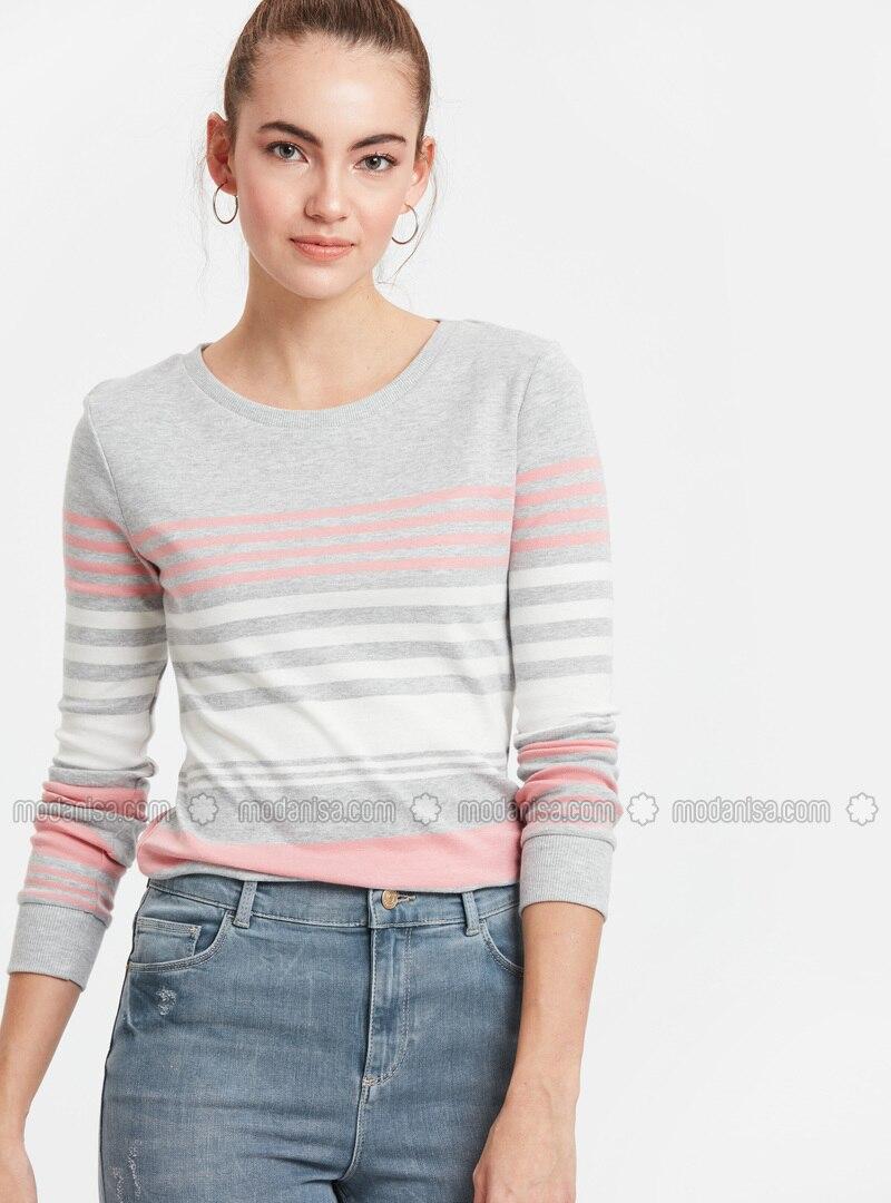 Gray - Stripe - Crew neck - T-Shirt