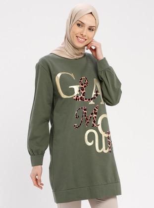 Khaki - Multi - Crew neck - Tunic