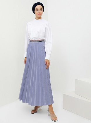 White - Navy Blue - Stripe - Unlined - Cotton - Skirt