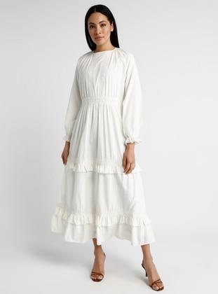 White - Ecru - Crew neck - Unlined - Cotton - Dress