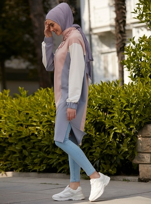 Blue - Powder - Polo neck - Cotton - Tunic
