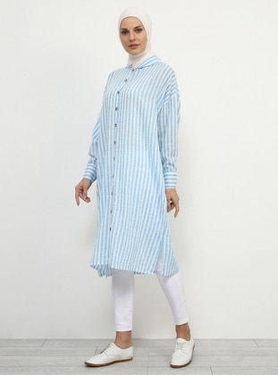 Blue - Stripe - Viscose - Tunic