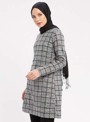 Gray - Checkered - Crew neck - Tunic