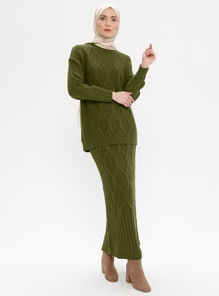 Khaki - Unlined - Acrylic -  - Suit
