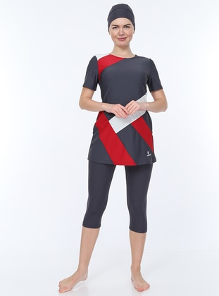Red - Anthracite - Unlined - Half Covered Switsuits