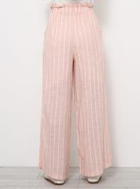 Pink - Stripe - Viscose - Pants