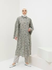 Green - Olive Green - Multi - Point Collar - Cotton - Tunic