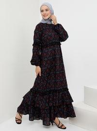 Navy Blue - Black - Ethnic - Crew neck - Unlined -  - Dress