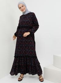 Lacivert - Siyah - Etnik - Yuvarlak yakalı - Astarsız kumaş - - Elbise