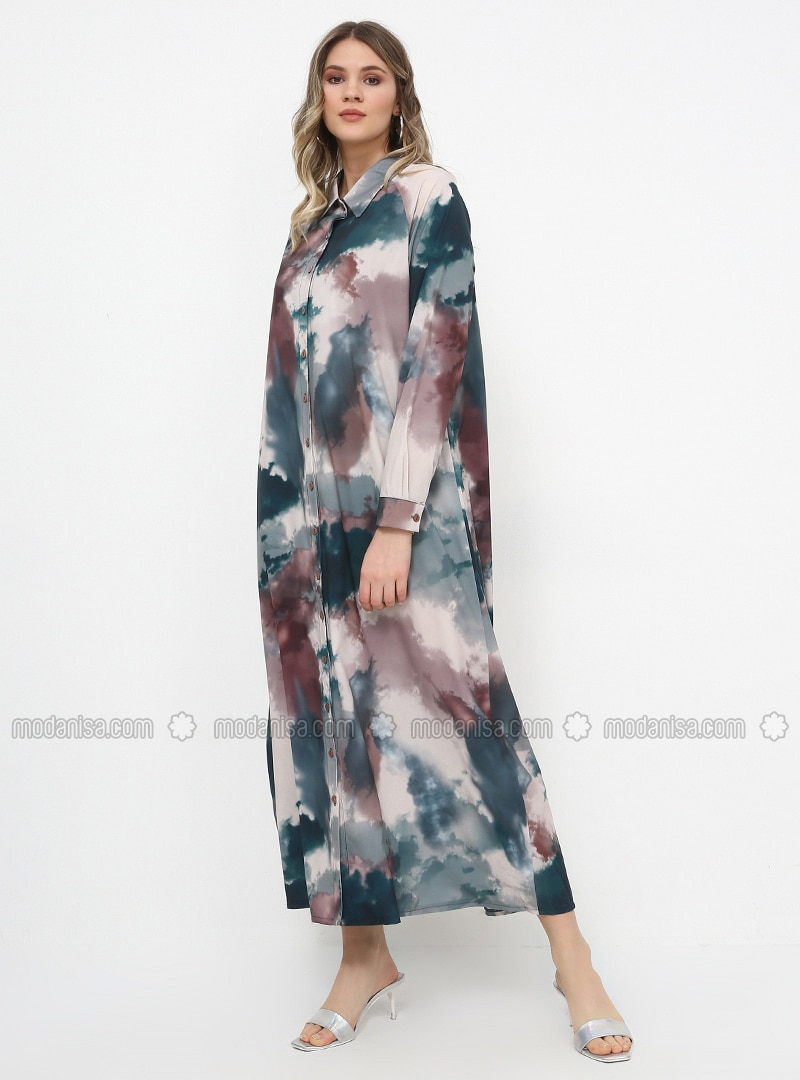 Green - Unlined - Point Collar - Plus Size Dress