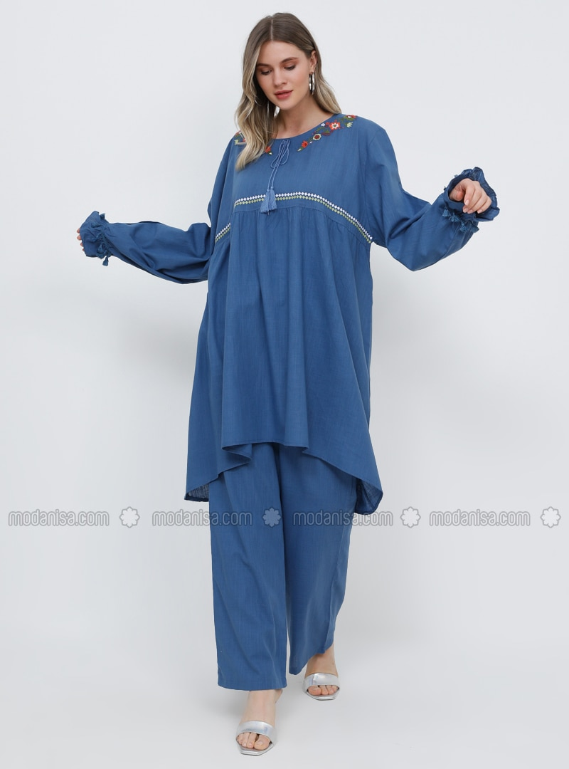 Blue - Indigo - Crew neck - Cotton - Plus Size Tunic