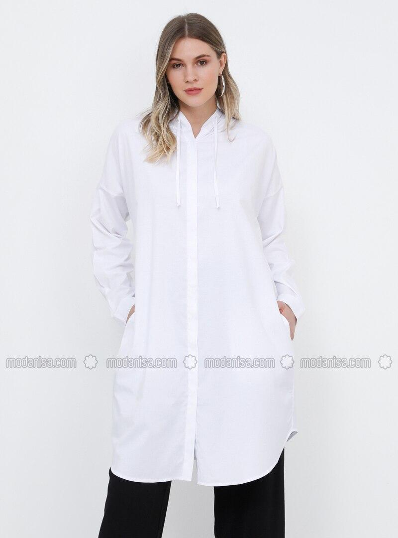 White - Ecru - Cotton - Plus Size Tunic