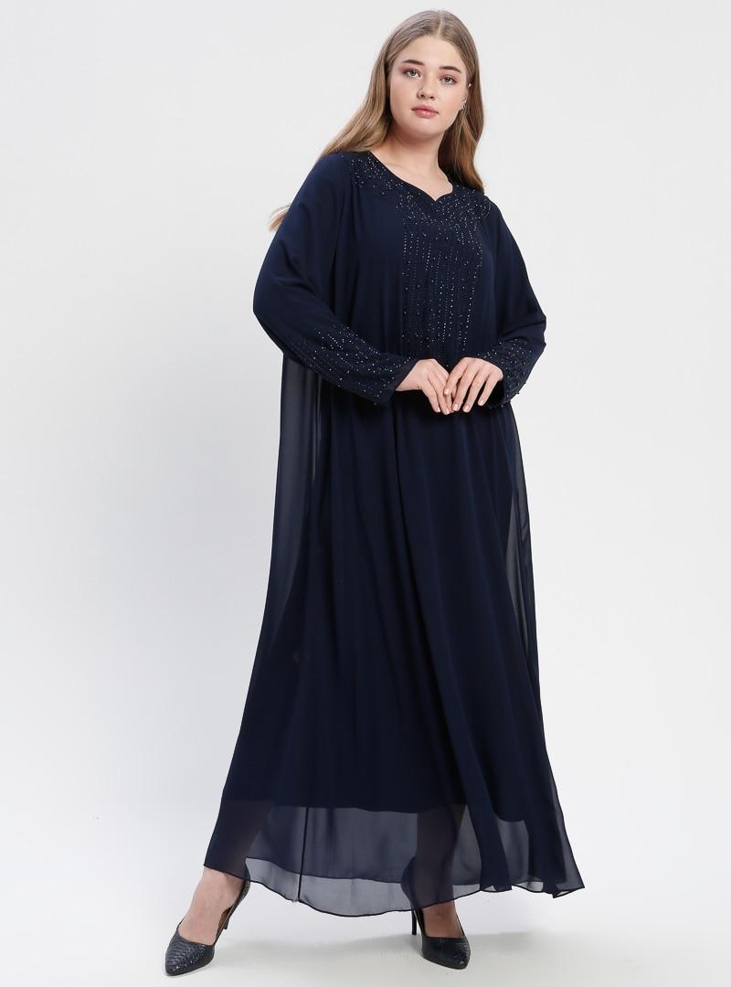 52 female Lacivert he&de Büyük Beden Abiye Elbise He&de