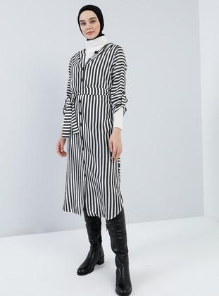 Black - Stripe - Cotton - Tunic